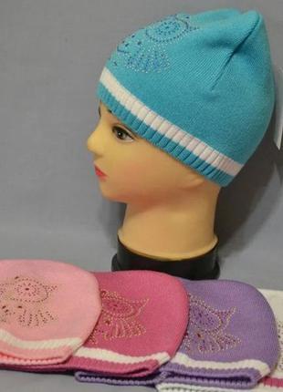 """Вязаная шапочка с совой для девочки """"майя"""""""