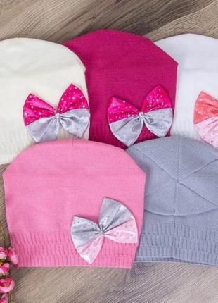 """Демисезонная шапка для девочек """"бант"""""""
