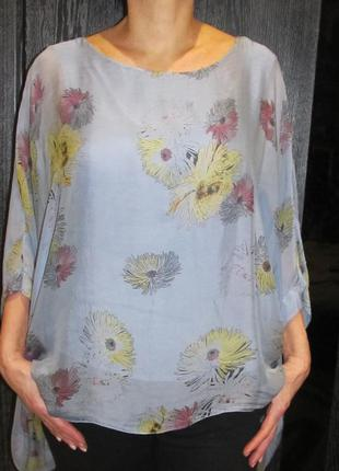 Роскошная блуза шелк италия р.52-54