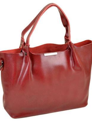 Кожаная красная сумка женская жіноча шкіряна велика