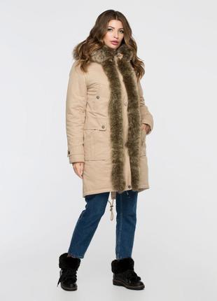 Зимняя женская коттоновая бежевая куртка парка с натуральным м...