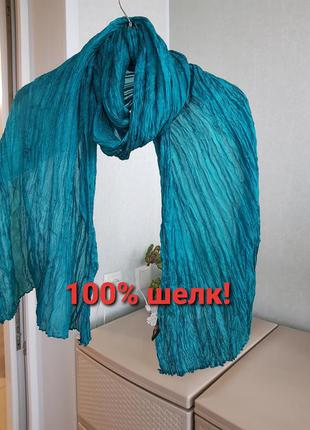 Шелковый шарф 100% шелк жатка цвет морской волны