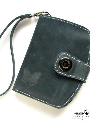 Бирюзовый женский кошелек из натуральной кожи ручной работы