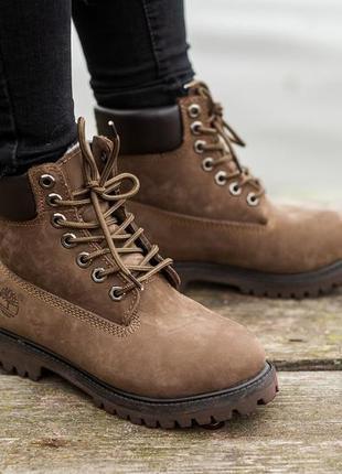 Ботинки женские зимние timberland brown, коричневые тимберленд...