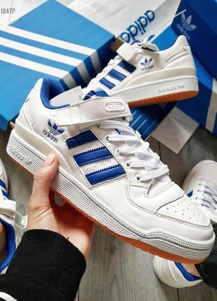 Мужские кроссовки adidas forum mid white blue, весна-лето-осень