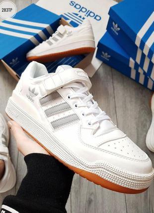Adidas forum mid white silver, мужские светлые кроссовки адида...