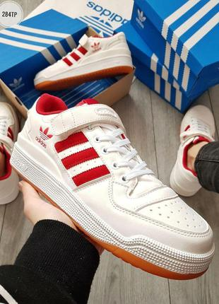Adidas forum mid white red, мужские шикарные демисезонные крос...
