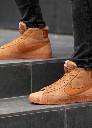 Nike blazer light brown winter, зимние мужские кроссовки найк,...