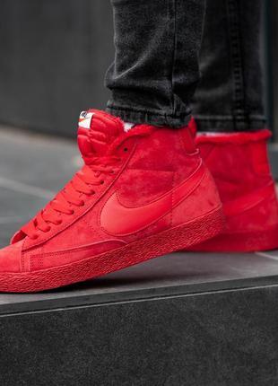 Nike blazer red, сочные красные мужские кроссовки найк, зимние...