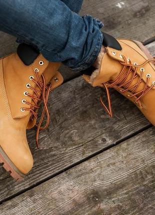 Ботинки timberland brown, зимние с мехом