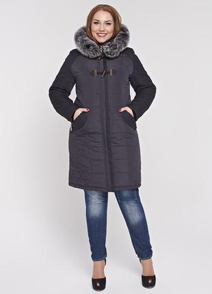 Скидка! Женская зимняя черная куртка с натуральным мехом