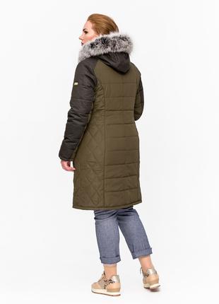 Скидка! Женская зимняя куртка хаки с натуральным мехом