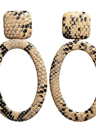 Серьги принт змея трендовый классный актуальный