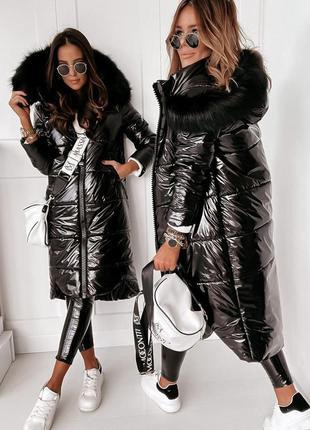 Зимняя лаковая куртка монклер силикон 300