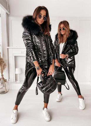 Оригинал трендовой зимней стильной лаковой куртки монклер сили...