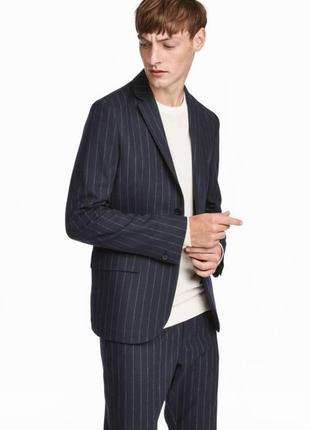 Синий пиджак h&m premium quality  в полостку , slim fit !