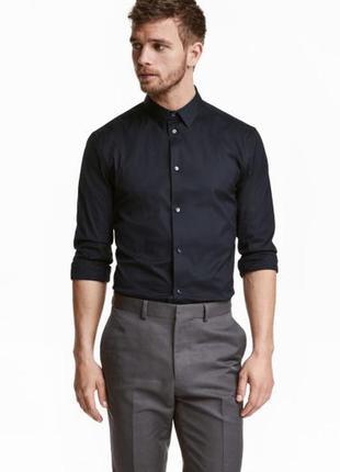 Рубашка стретч h&m premium quality , slim fit !