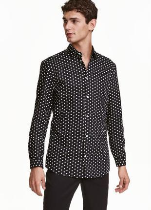 Черная рубашка h&m premium quality в горошек !