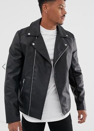 Черная байкерская куртка asos !