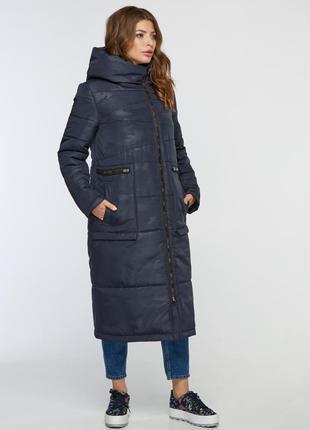 Зимняя женская  длинная синяя куртка одеяло милитари камуфляж