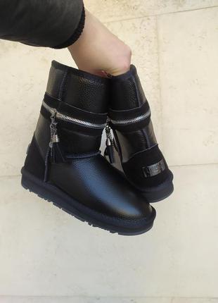 Sale натуральные кожаные угги сапоги ботинки унты дутики женские