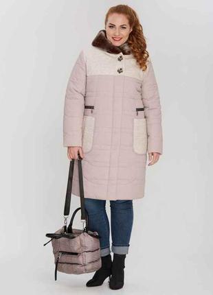 Комбинированная женская зимняя бежевая куртка батал большие ра...