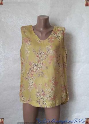 Фирменная belletta блуза со 100% льна в мелкие цветы с удлинён...