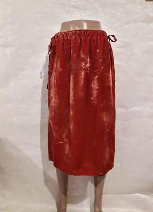 Фирменная h&m стильная бархатная юбка миди красивого кирпичног...