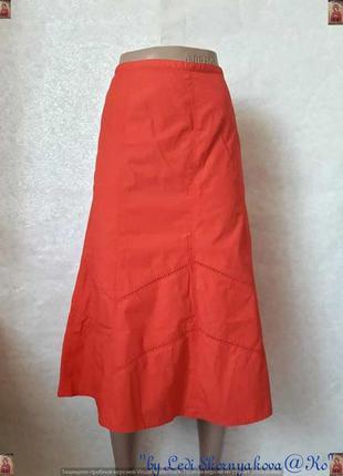 """Новая фирменная bhs 100 % хлопковая юбка миди красного цвета """"..."""