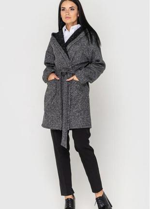 Кардиган/пальто на запах з поясом і з капюшоном