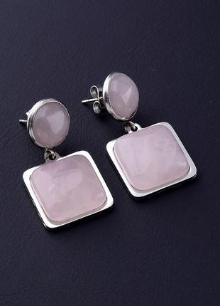 Серьги 'stainless steel' розовый кварц 0617940
