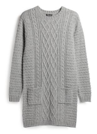Теплое свитер платье джемпер туника крупной вязки