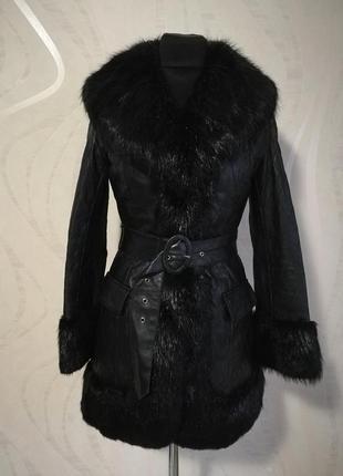 Стеганная кожаная куртка полупальто на меховой подстежке в сти...