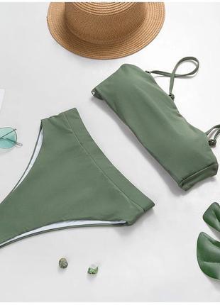 Новый раздельный зелёный купальник с завышенными плавками и то...