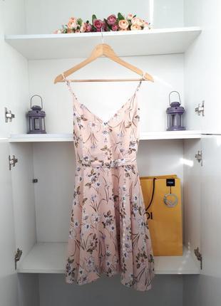 Летнее платье на бретелях с поясом сарафан primark