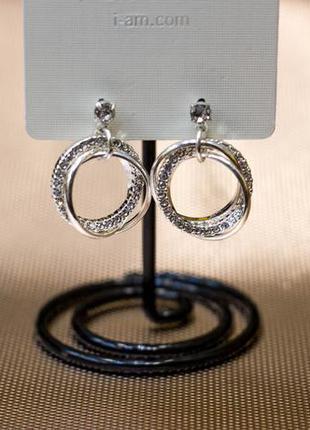Серьги сережки серебро камни стразы круг кольца бижутерия asos
