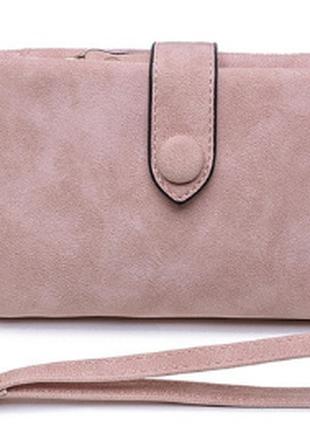 Женский матовый кошелек с ремешком розовый