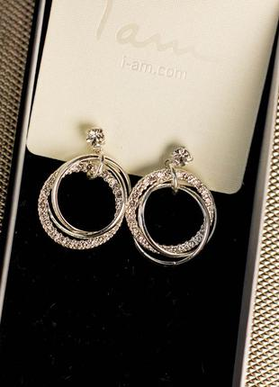 Серьги сережки серебро камни стразы круг кольца бижутерия i am...