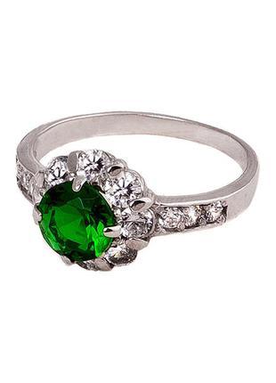 Кольцо из серебра с покрытием из родия «королева» с фианитом ц...