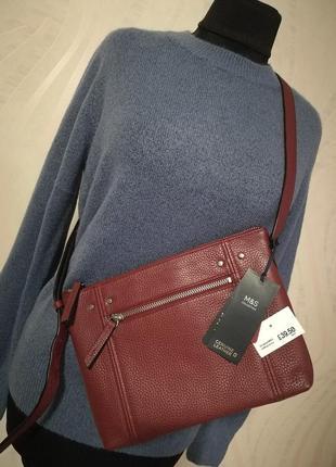 Средняя кожаная сумочка сумка клатч кроссбоди через плечо  кож...