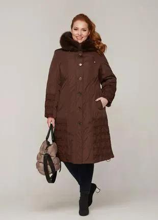 Зимняя женская длинная куртка с натуральным мехом коричневая