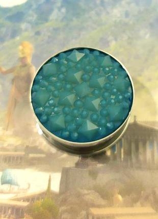 Плаг стальной с кристаллами, пирсинг, тоннель 1 шт.