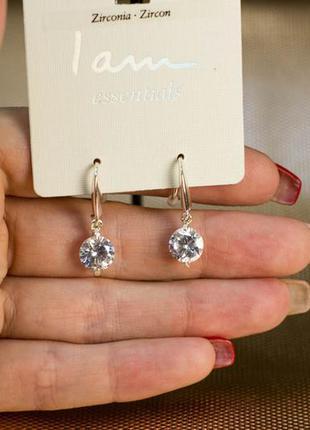 Серьги сережки серебро цирконы камни бижутерия украшение i am ...