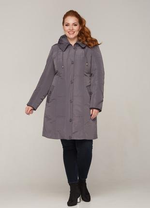 Зимняя женская куртка серая, черная с подстежкой