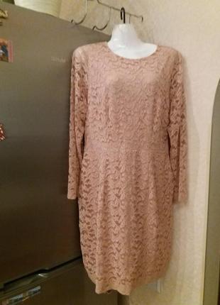 Нюдовое ажурное платье на 50\52р h&m акция!!!! при покупке +++...