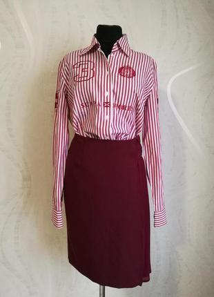 Шикарная оригинальная юбка карандаш цвет марсал olly doo итали...
