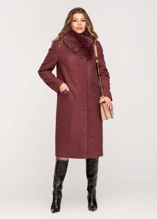Шикарное зимнее пальто с натуральным мехом синее, бежевое, бор...