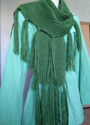 Роскошный мохеровый шарф цвета зеленого яблока палантин с бахр...