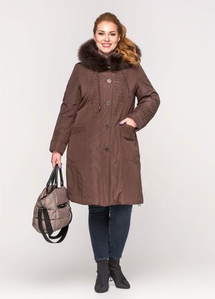 Зимняя женская коричневая куртка с натуральным мехом с вышивкой