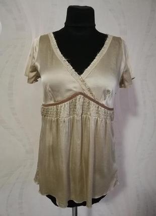 Нежная нюдовая бежевая шелковая блуза блузка schumacher